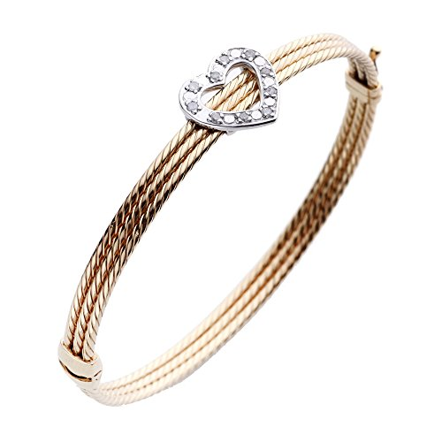 - Yellow Gold Plated Sterling Silver Diamond Bangle (1/5 CT)