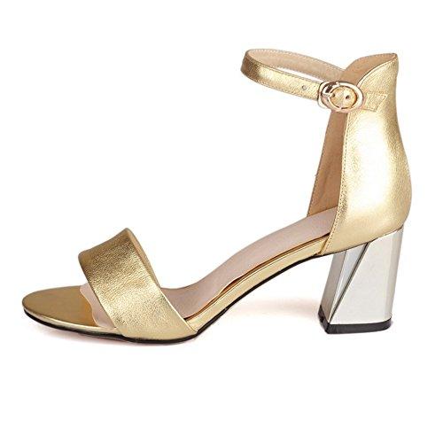 Adee Mujer electroplate talón hebilla piel sandalias Dorado - dorado
