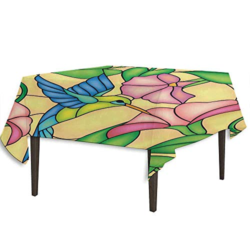 - kangkaishi Hummingbird Printed Tablecloth Stained Glass Style Bird and Hibiscus Tropical Flora and Fauna Illustration Outdoor and Indoor use W36.2 x L36.4 Inch Multicolor
