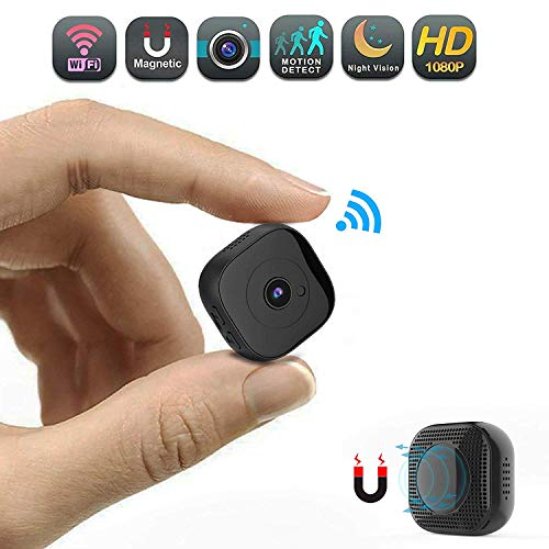 Mini WiFi Camera,CHUHE 1080P Portable Body Cameras Wireless Indoor/Outdoor Security Small Camera/Nanny Cam with Motion Detection/Night Vision (Square)