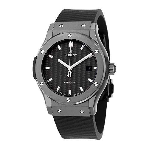 Hublot Classic Fusion Automatic Black Carbon Fiber Dial Black Rubber Mens Watch - Hublot Mens Watch Classic