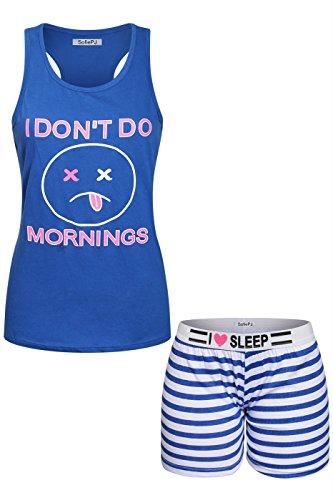 2LUV Women's Printed Cotton Race Back Tank Top Short Pants Pajama Set Royal Blue L