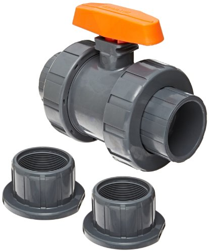 End Valve - Hayward TB1150STE Series TB True Union Ball Valve, Socket/Threaded End, PVC with EPDM Seals, 1-1/2