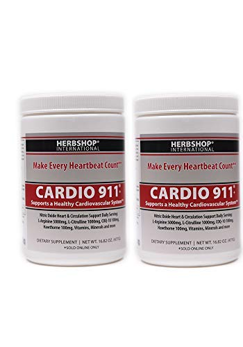 Cardio 911-2 Pack, Nitric Oxide, 16.82 oz Powder, CoQ-10 100mg, L Arginine 5000mg, L Citrulline 1000mg, Hawthorn 100mg + More Heart Health Ingredients (Twin Pack)