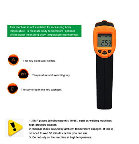 Infrared Thermometer IR Laser Thermometer Non-Contact Digital Temperature Gun -32°C~380°C (-26°F~608°F) Instant Read with Auto Shut-off Data Hold Function, LCD Backlight Display, Battery Included. by Junboys (Image #4)