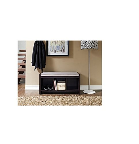 This Is a Elegant Spacious Black Storage Bench. Included Are 3 Cubbies for Shoes and Books. Storage Bench Seat That Are Practical & Stylish. It's Very Comfy for Extra Seating and Is Perfect for a Living Room, Bedroom, or the Entryway Bench of Your Home. b