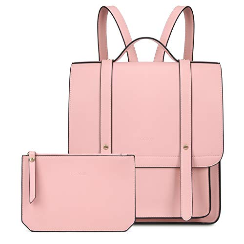 ECOSUSI Women Briefcase Laptop Backpack PU Leather Satchel Messenger Bag Fits up to 14 Inch Laptops with Small Purse, Pink