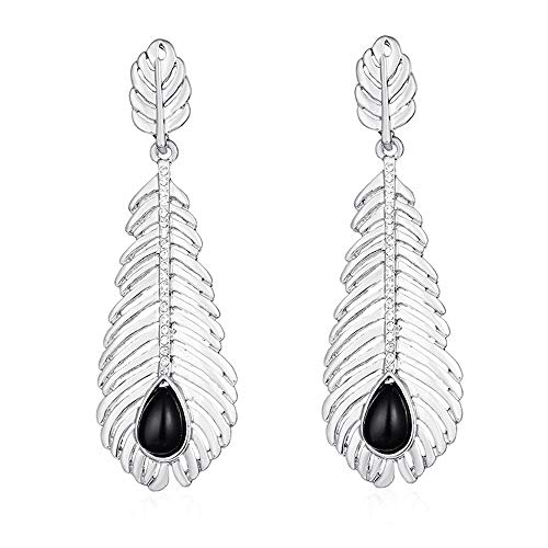 Toaimy Earings Openwork Leaves Exaggerated Earrings Size Leaves With Diamond Drop Gemstone Earrings -