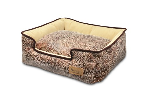 - P.L.A.Y. Pet Lifestyle and You Savannah Brown Lounge Bed for Dogs, Large
