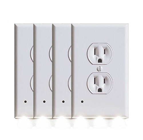 Outlet Wall Plate with LED Night Lights by Marquee Innovations | 4 Pack | No Wires or Battery Needed – Fast Install | Duplex, White by Marquee Innovations (Image #1)