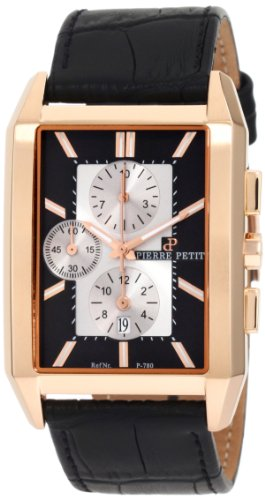 Pierre Petit Men's P-780B Serie Paris Rose-Gold PVD Rectangular Case Chronograph Watch
