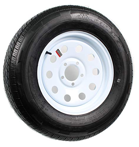 FactoryRvSurplus 15″ White Mod Trailer Wheel ST205/75R15 Tire Mounted (5×4.5) Bolt Circle