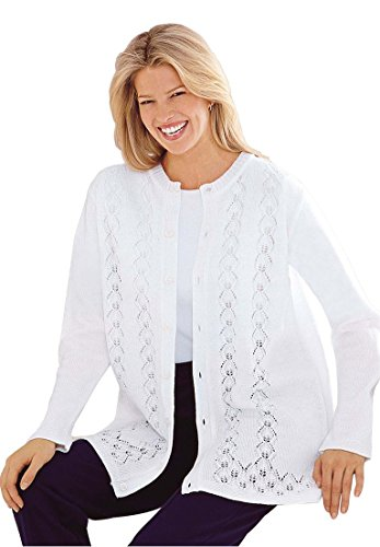 Only Necessities Women's Plus Size Pointelle Cardigan White,2X (Trim Sweater Pointelle)
