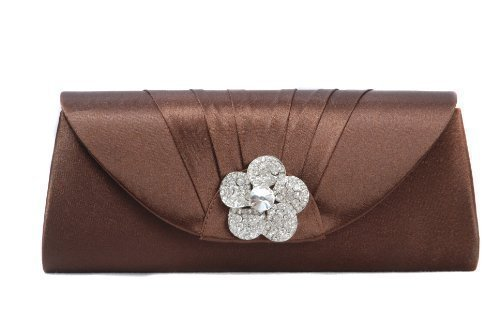 wholesale price latest trends top-rated fashion Chocolate brown satin clutch bag with pleats and diamante rose on flap by  Vivid