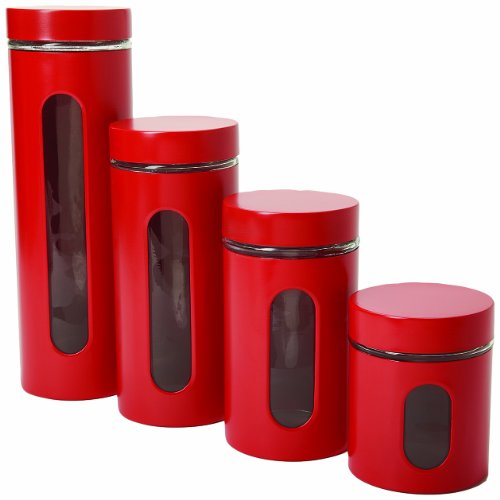 Anchor Hocking Palladian Glass and Stainless Steel Canister Set with Lids, Cherry, 4-Piece Set