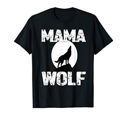 (Mama Wolf Shirt Matching Family Tribe Wolves Moon Mum Mom)