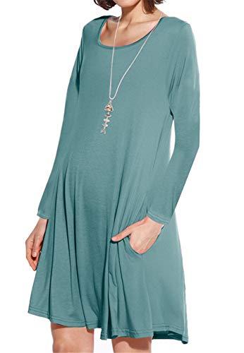 JollieLovin Women's Pockets Long Sleeve Casual Swing Loose Dress (Greyish Green, 1X)