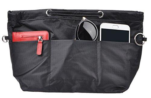 Vercord Oxford Handbag Purse Tote Pocketbook Insert Organizer With Handle 2 Sizes, Raisin Black (Mm Black Handbag)