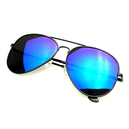 Premium Full Mirrored Aviator Polarized Sunglasses Flash Mirror Lens (Black Blue, - Top For Brands Sunglasses Ten Men