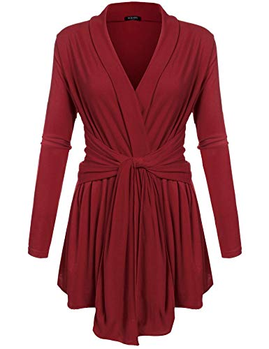 ACEVOG Womens Lightweight Long Sleeve Outwear Travel Draped Open Cardigan Wine Red XXXL