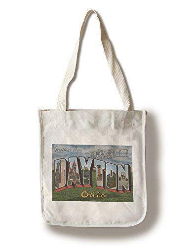Greetings from Dayton, Ohio (Wright Bros. Plane) (100% Cotton Tote Bag - Reusable, Gussets, Made in - Dayton In Ohio Shopping