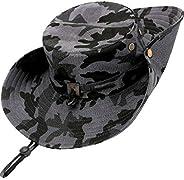 kolumb Wide Brim Boonie Hat, Men & Women Top Camo Bucket Hats for Safari Military B