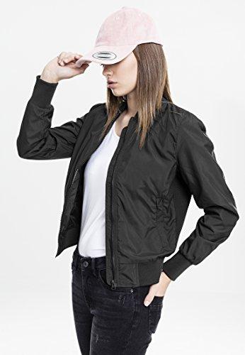 (Urban Classics Ladies Bomber Jacket TB1217 Ladies Light Bomber Jacket Color: black in Size: Large)