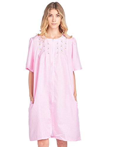Casual Nights Women's Zipper Front Short Sleeve Gingham Housecoat Duster - Pink - Medium (Duster Short Sleeve)