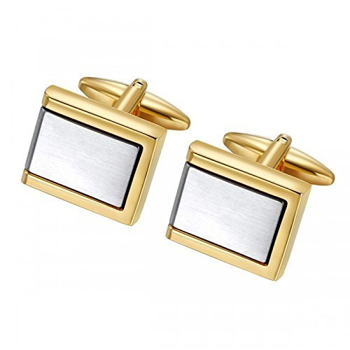 Two Tone Brushed Geometric Cufflinks in Stainless Steel - Engraveable ()