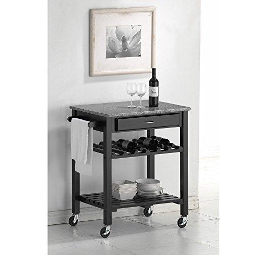 Baxton Studio Wheeled Kitchen Granite