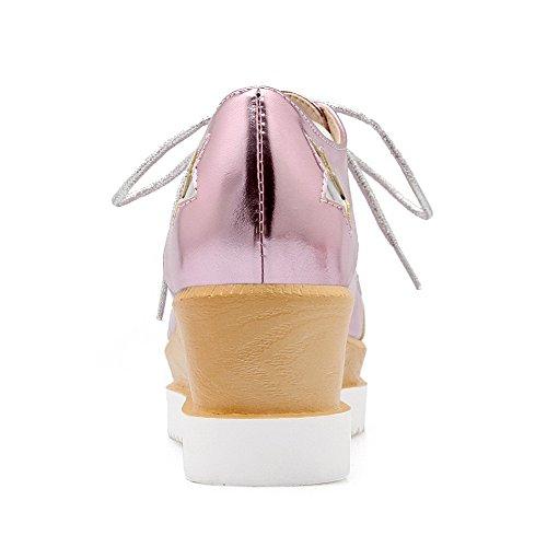 AgooLar Damen PU Gemischte Farbe Schnüren Quadratisch Zehe Mittler Absatz Pumps Schuhe Pink