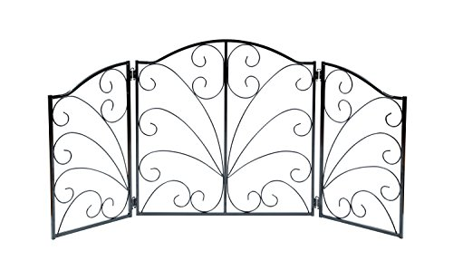 Indoor/Outdoor Arched Scroll Metal 3 Panel Pet Gate - Expands From 24'' to 48' by Pet Gate