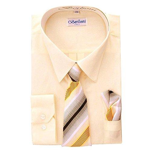 (Boy's Dress Shirt, Necktie, and Hanky Set - Off-White, Size 8)