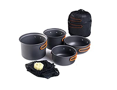 Luxetempo 4 Pcs Aluminum Lightweight Camping Hiking Cookware Set Camp Kitchen Pots and Pans