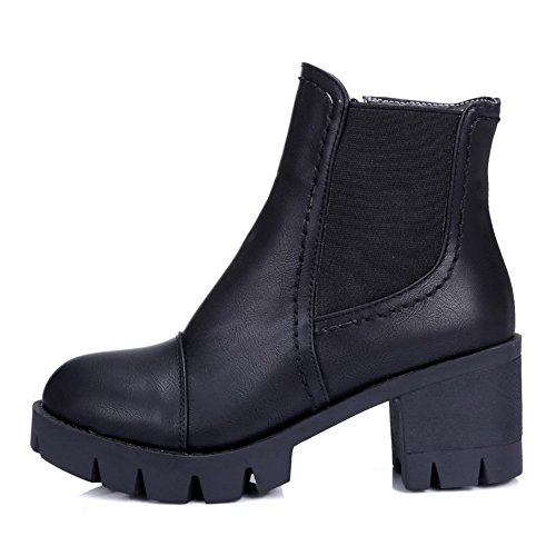 AgooLar Women's Solid Kitten Heels Round Closed Toe PU Zipper Boots Black vxaXBcVRs