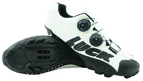 LUCK Zapatillas de Ciclismo MTB, Excalibur, Serie Profesional, Suela de Carbono, Taco de Goma Natural y Doble Sistema rotativo de precisión.