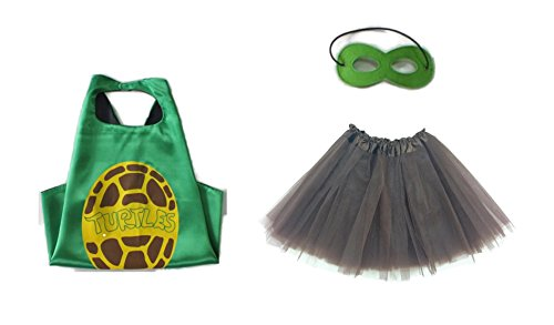 Venger Costume (Rush Dance Kids Children's Deluxe Comics Super Hero CAPE & MASK & TUTU Costume (TMNT Turtle Shell (Brown Tutu)))