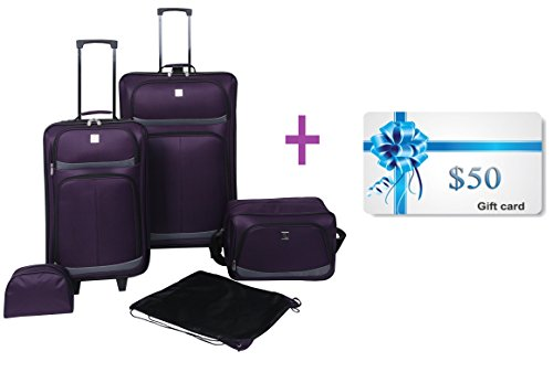 Protege 5 Piece Luggage Set for Women & Men Upright Rolling Baggage...