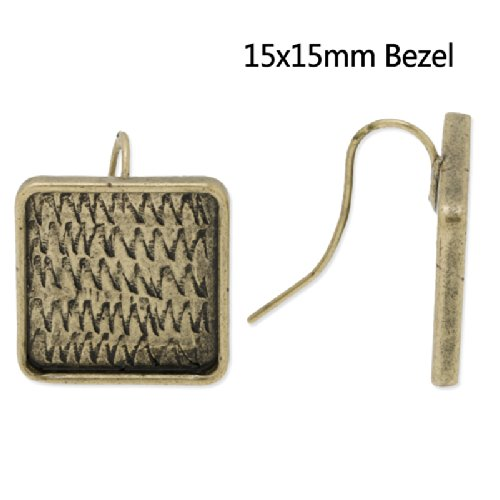 Vintage Design Antique Bronze Plated Earrings Base with Square Bezel- fit 15x15mm Cabochon-10pcs