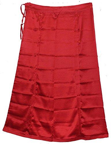 Odishabazaar Women Saree Petticoat Satin Silk Underskirt Lining for Sari + Free Sari Pin - Saree Silk Sari