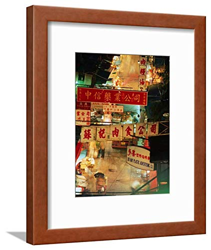ArtEdge Chinese Banners Hanging At Wet Market, Central, Hong Kong, China Ray Laskowitz, Brown Framed Matted Wall Art Print, 12x9 (Market Central Hong Kong China)