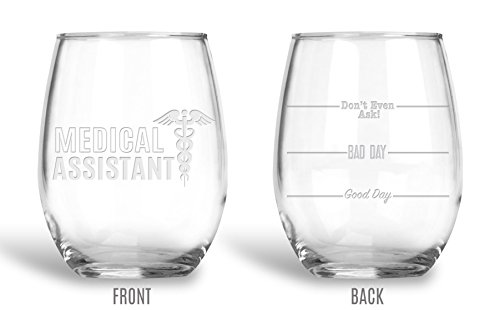 Coasters Etched Glass - BadBananas Medical Assistant - Good Day, Bad Day, Don't Even Ask 21 oz Engraved Large Stemless Wine Glass with Etched Coaster - Funny Gift Glasses