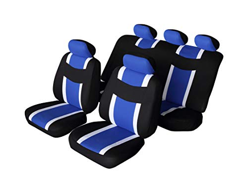 (Autonise Universal fit Classic Sport Bucket seat Cover (Fit Most Car,Truck, SUV, or Van with headrest) Airbag Compatible (flatcloth Blue, Full)