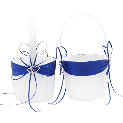 AmaJOY 2pcs Beach Wedding Flower Girl Basket White and Royal Blue Flower Basket with Double Heart Rhinestone Decor ()