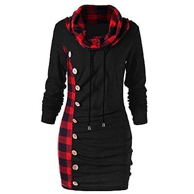 Franterd Women Lattice Blouse Plaid Cowl Neck Henley Tops Shirt Pullover Fitting Autumn Winter Spring