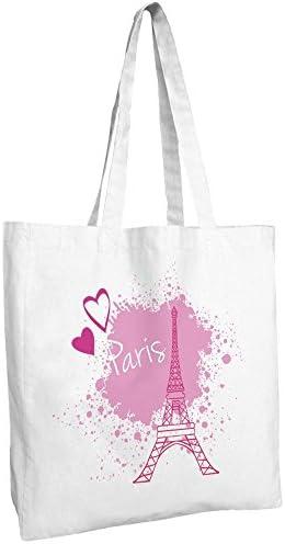 Tote Bag-Bolsa para la compra algodón, diseño de París, color ...