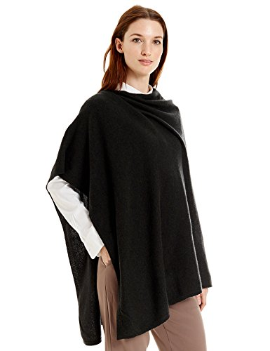 New York Cashmere 100% Pure Cashmere Draped Poncho (Dark Loden) by New York Cashmere