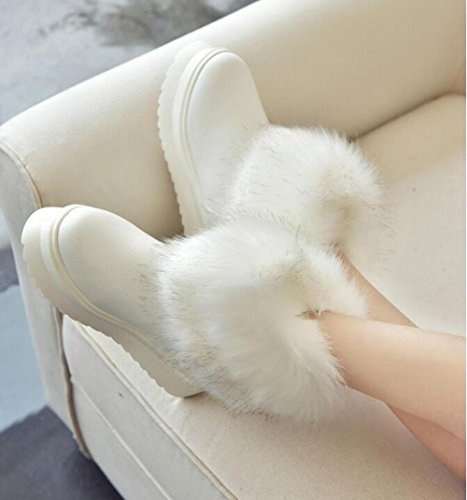 Ladies thick sponge cake at the end of circular scalp hairs short tube snow boots WHITE-90160CM p1oLzP4pY