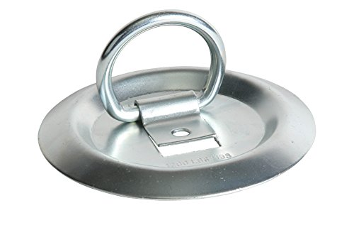 DC Cargo Mall D Ring Tie-Down Anchor, Round Bolt-On Cargo Tie Down Flush Mount DRing, Strong Steel TieDown Anchor for Truck, Trailer, Flatbed, Pickup Bed ()