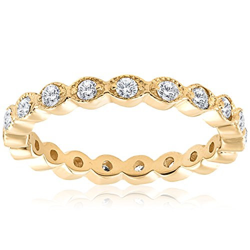 1/3ct Stackable Diamond Wedding Filigree Eternity Ring 14K Yellow Gold
